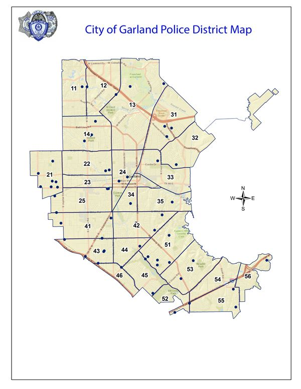 City of Garland Police District Map Opens in new window